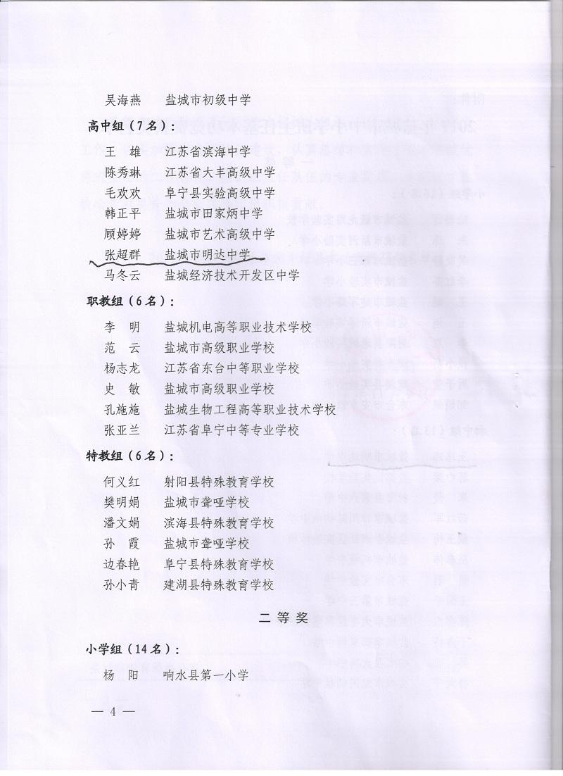 喜报二十:我校王玮玮、张超群老师荣获盐城市中小学班主任基本功竞赛一等奖