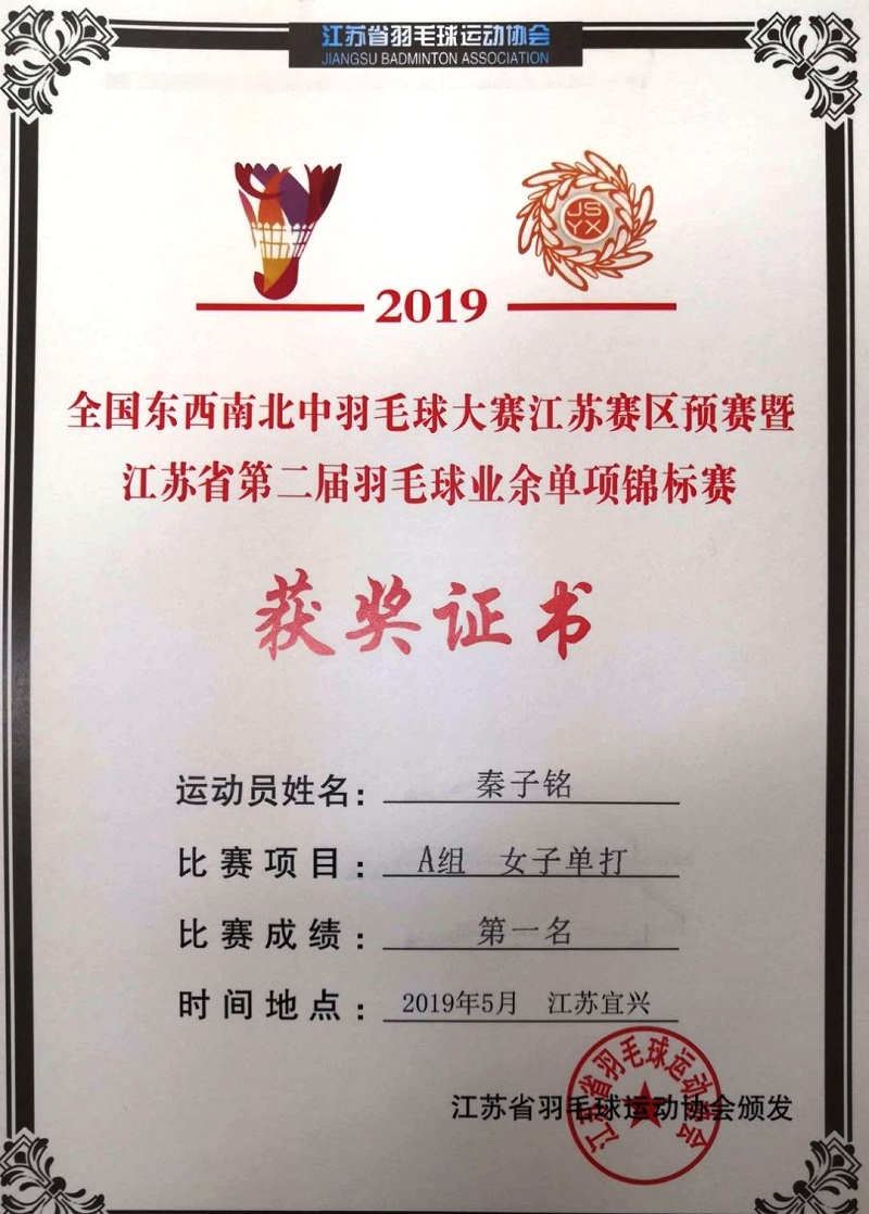 喜报三:我校学生在省羽毛球锦标赛中荣获佳绩